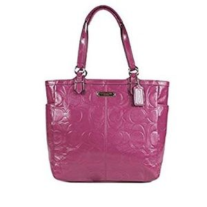 COACH Gallery Signature Embossed Patent Leather